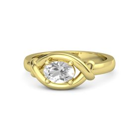 Oval Rock Crystal 18K Yellow Gold Ring