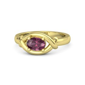Oval Rhodolite Garnet 18K Yellow Gold Ring
