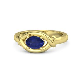 Oval Blue Sapphire 18K Yellow Gold Ring