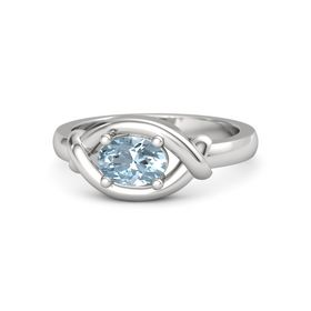 Oval Aquamarine Sterling Silver Ring