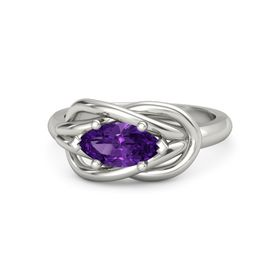 Marquise Amethyst 14K White Gold Ring