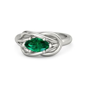 Marquise Emerald 14K White Gold Ring