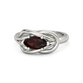Marquise Red Garnet 14K White Gold Ring