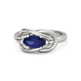 Marquise Blue Sapphire 14K White Gold Ring