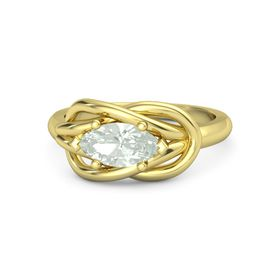 Marquise Green Amethyst 14K Yellow Gold Ring