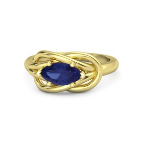 Marquise Blue Sapphire 14K Yellow Gold Ring