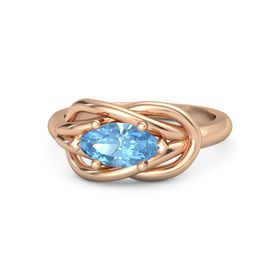 Marquise Blue Topaz 18K Rose Gold Ring
