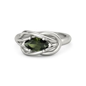 Marquise Green Tourmaline 18K White Gold Ring