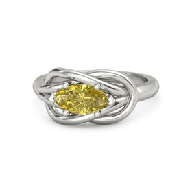 Marquise Yellow Sapphire 18K White Gold Ring