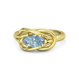Marquise Aquamarine 18K Yellow Gold Ring