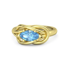 Marquise Blue Topaz 18K Yellow Gold Ring