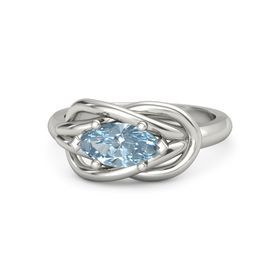 Marquise Aquamarine Palladium Ring