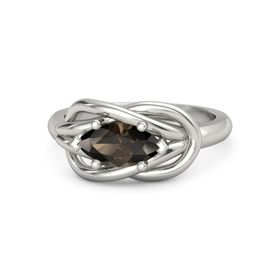 Marquise Smoky Quartz Palladium Ring
