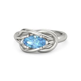 Marquise Blue Topaz Platinum Ring