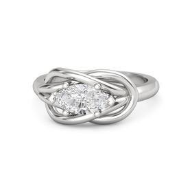Marquise White Sapphire Sterling Silver Ring