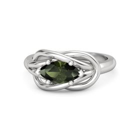 Marquise Green Tourmaline Sterling Silver Ring