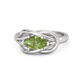 Marquise Peridot Sterling Silver Ring