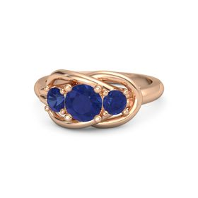 Round Sapphire 14K Rose Gold Ring with Sapphire