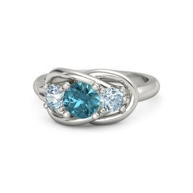 Round London Blue Topaz 14K White Gold Ring with Aquamarine