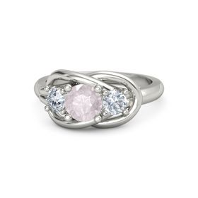 Round Rose Quartz 14K White Gold Ring with Diamond