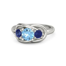 Round Blue Topaz 14K White Gold Ring with Sapphire