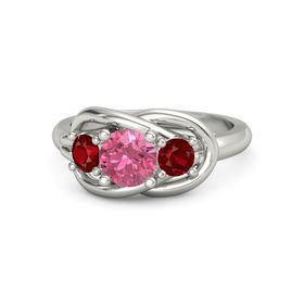 Round Pink Tourmaline 14K White Gold Ring with Ruby