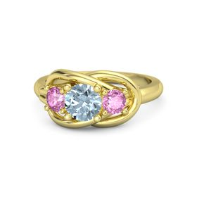 Round Aquamarine 14K Yellow Gold Ring with Pink Sapphire