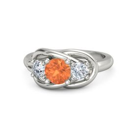 Round Fire Opal 18K White Gold Ring with Diamond
