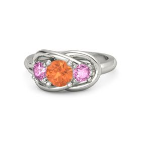 Round Fire Opal 18K White Gold Ring with Pink Sapphire