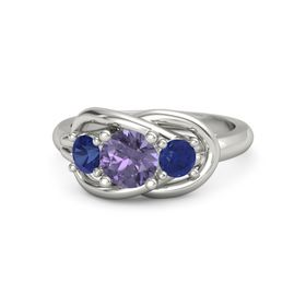 Round Iolite 18K White Gold Ring with Blue Sapphire