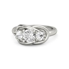 Round Rock Crystal Palladium Ring with Rock Crystal