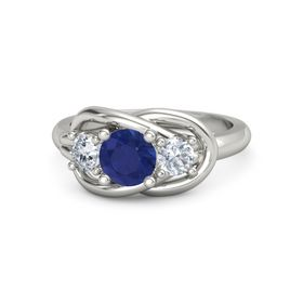 Round Blue Sapphire Palladium Ring with Diamond