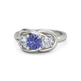 Round Tanzanite Palladium Ring with Diamond