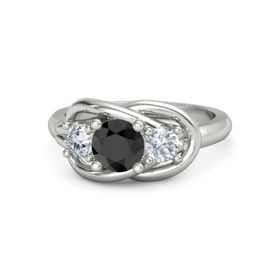Round Black Diamond Platinum Ring with Diamond