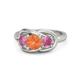 Round Fire Opal Platinum Ring with Pink Tourmaline