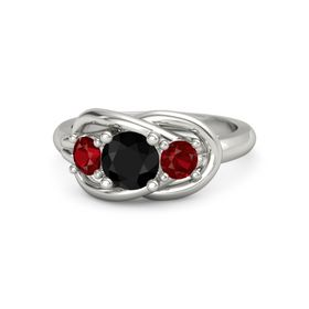 Round Black Onyx Platinum Ring with Ruby