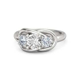 Round Rock Crystal Sterling Silver Ring with Diamond