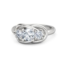 Round Diamond Sterling Silver Ring with Diamond
