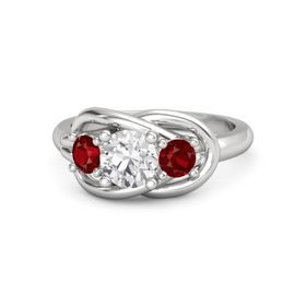 Round White Sapphire Sterling Silver Ring with Ruby