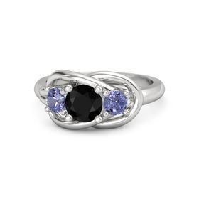 Round Black Onyx Sterling Silver Ring with Tanzanite