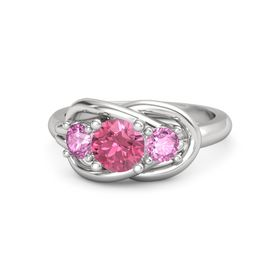 Round Pink Tourmaline Sterling Silver Ring with Pink Sapphire