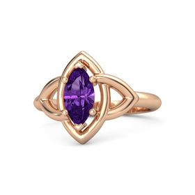 Marquise Amethyst 14K Rose Gold Ring