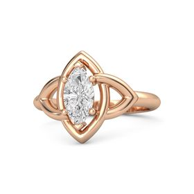 Marquise White Sapphire 14K Rose Gold Ring