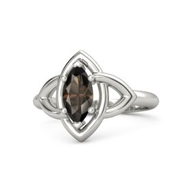Marquise Smoky Quartz 14K White Gold Ring