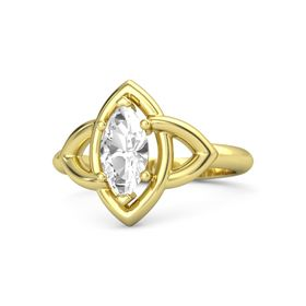 Marquise Rock Crystal 14K Yellow Gold Ring