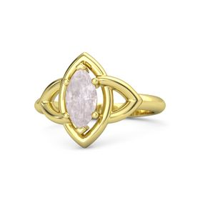 Marquise Rose Quartz 14K Yellow Gold Ring