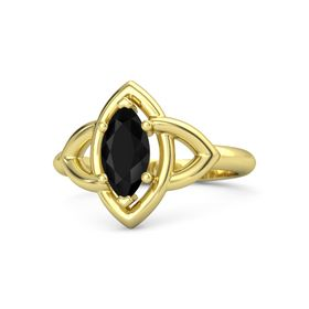 Marquise Black Onyx 14K Yellow Gold Ring