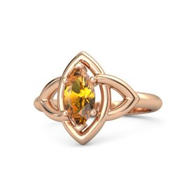 Marquise Citrine 18K Rose Gold Ring