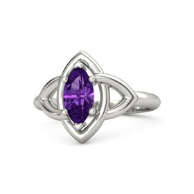 Marquise Amethyst 18K White Gold Ring