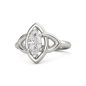 Marquise White Sapphire 18K White Gold Ring